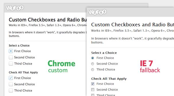 Custom Checkbox/Radio Button Comparison