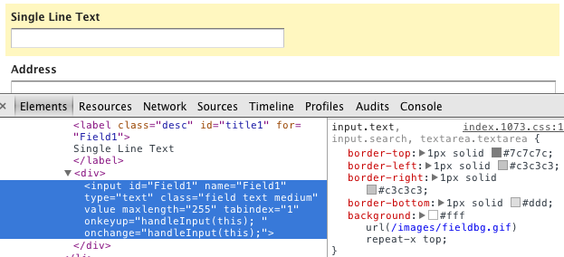 Inspect Using Developer Tools